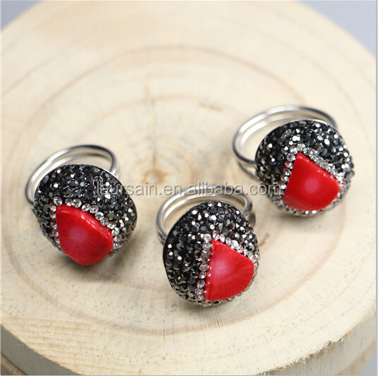 LS-D4758 Fashion gemstone jewelry Crystal Red Coral rings
