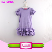 2016 Latest Baby Frock Designs Cap Sleeve Ruffles Long Dress Solid Lavender Girl Frock Frill Dresses 1-6 Years Old Girl Dress