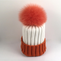 Myfur Ribbed Knitted Hat Adult Size Beanie With Fox Body Fur Pom Poms