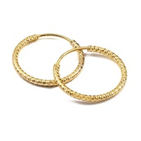 E30 Boho Filigree 24 Karat Gold plated Sterling Silver Thin Hoop Earrings Silver 925 Free Sample