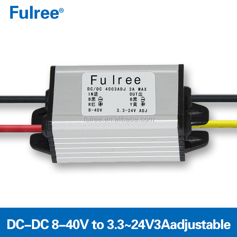 Fulree 3A Adjustable Converter Step Down Power Supply 8-40V to 3.3-24V DC-DC Buck Module DIY Electronic Transformer