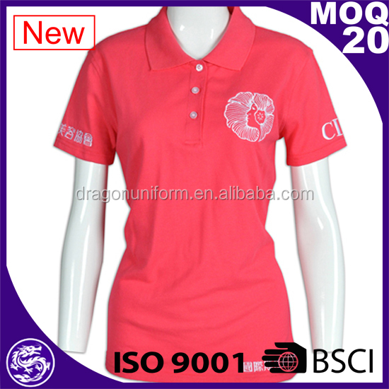 2017 customized short sleeve women slim fit dress polo shirts