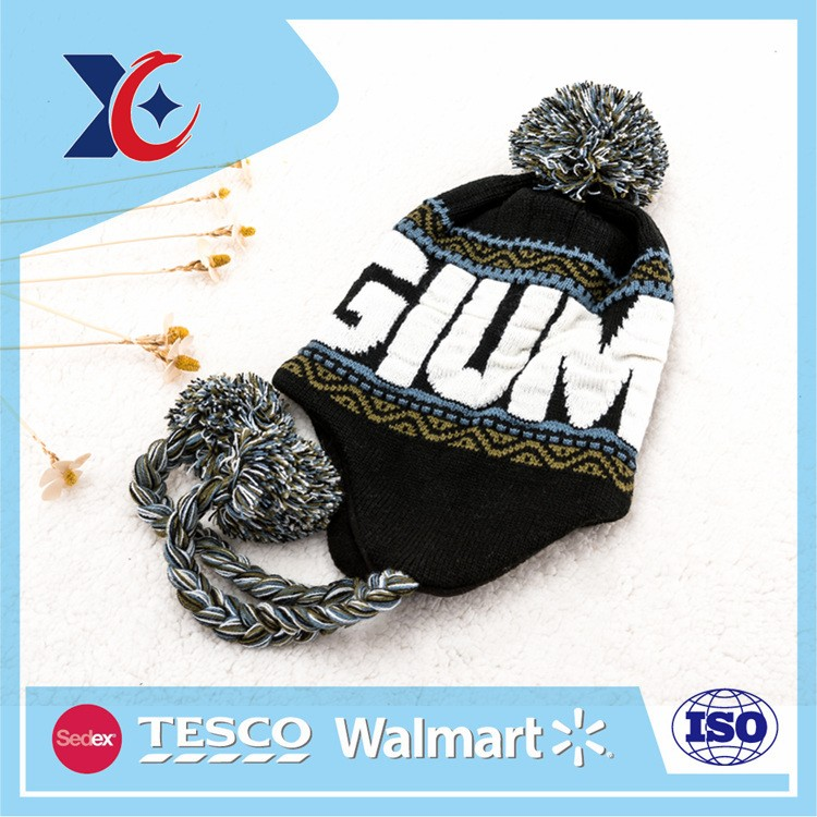 Custom acrylic knit women man baby cap patterns winter knitted hat