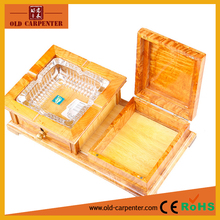 Square wooden and crystal glass ashtrays for cigar