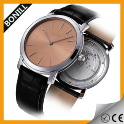 Customized brown leather band silver fashion alloy case watch