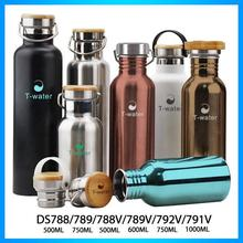 BPA free eco-friendly one handed easy carrying stainless steel bottle with bamboo cap