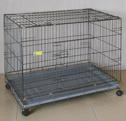 China Wholesale Dog Crate Foldable Iron Dog Cage With Wheels