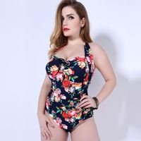 MOON BUNNY 3XL-5XL Plus Size Swimwear Sexy One Piece Swimsuit Floral Print High Waist Large Cup Swimsuit Halter Maillot De Bain