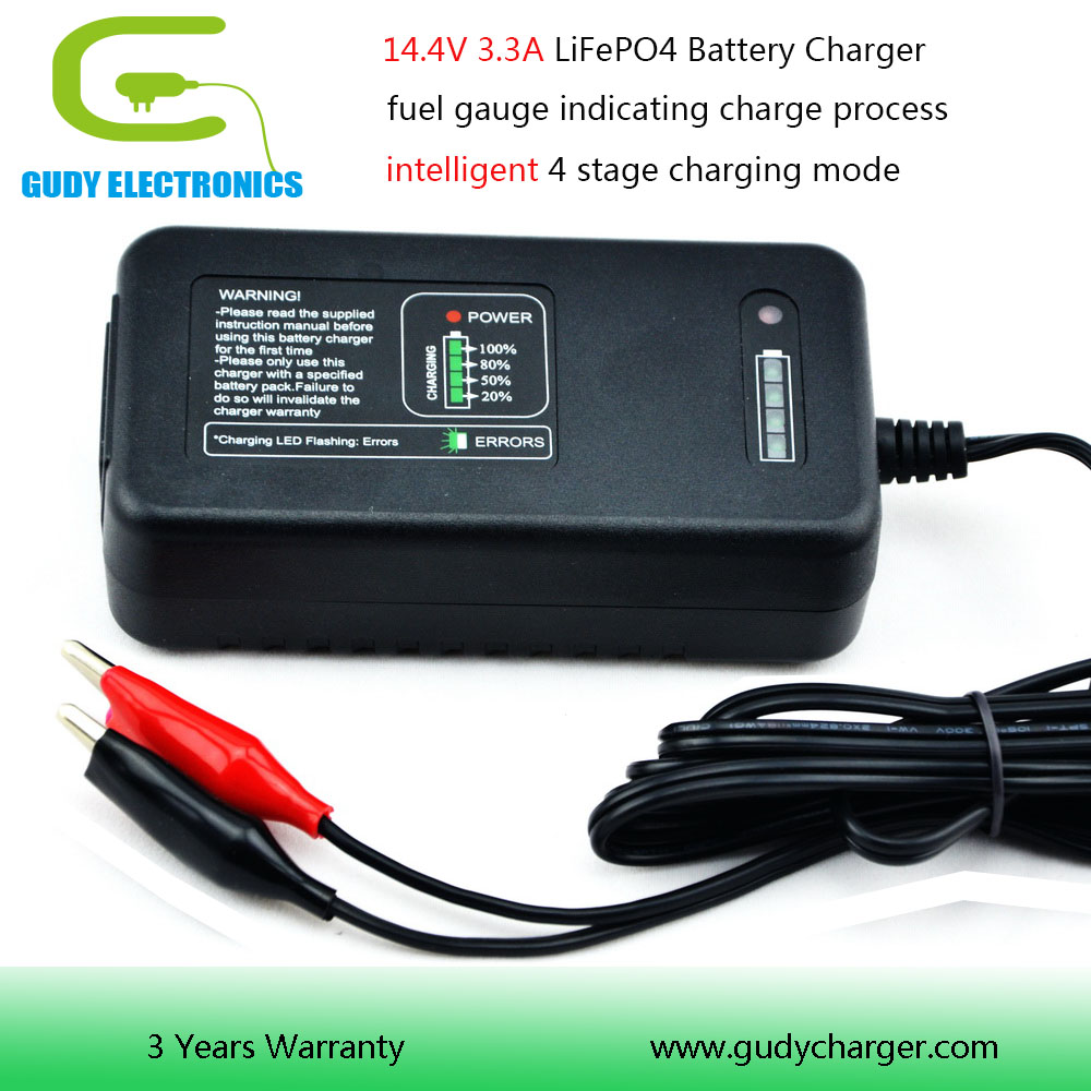 Good price 14.4V Lithium Iron Phosphate battery charger 3.3A with fuel gauge OEM