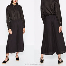 2016 women trendy high waist black dress pants wholesale cheap long pleated dress pants for ladies wear