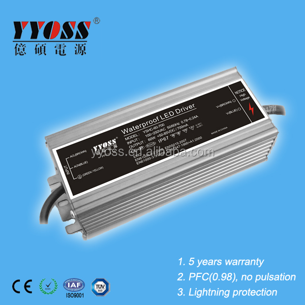 60W waterproof constant current led driver 350ma 700ma 1050ma 1400ma with CE