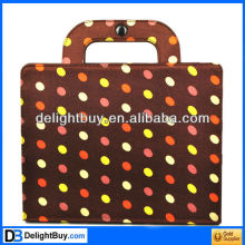 Stylish Brown dot Portable PU Leather Bag Case Cover Hand Bag Case Protector for iPad 2 iPad 3