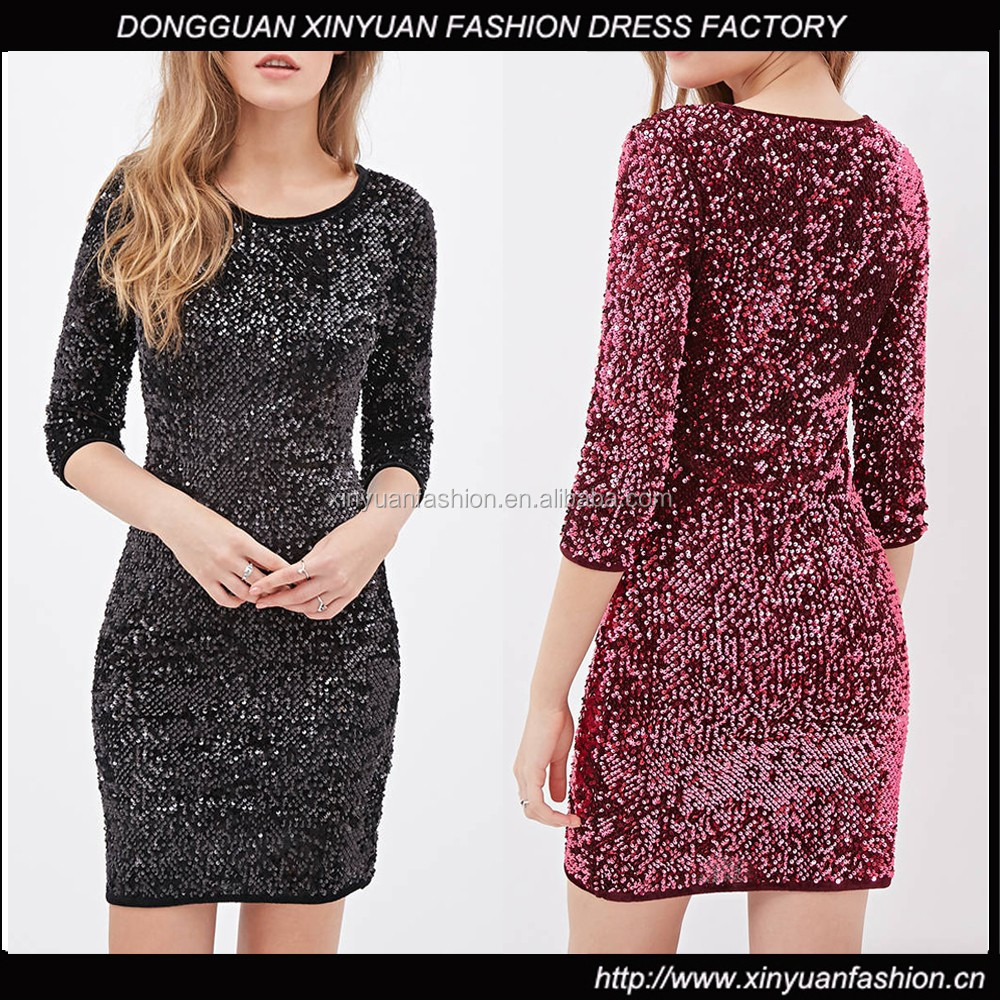 Flattering 3/4 long sleeve cheap full sequin dress