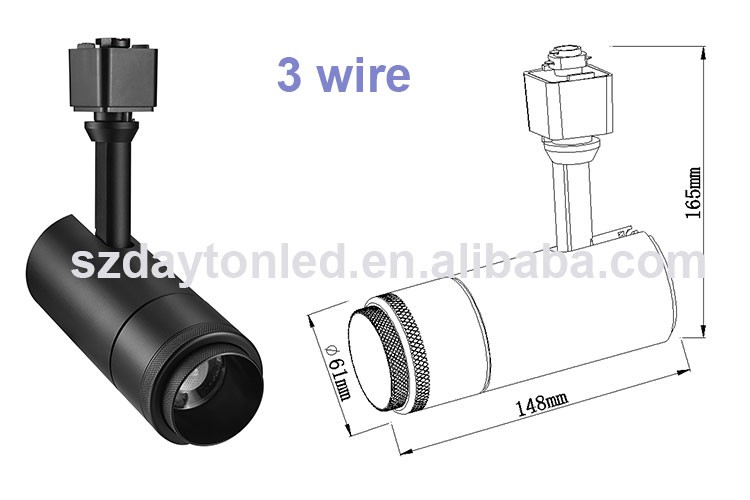 CE ROHS Approved Museum 4 WIRE Europe Style 15W 25W 30W 35W AC220V Dimmable Adjustable Focus COB Track Light
