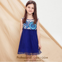 2015 Hot Sale Elegent Kids Frocks Designs Sleeveless Baby Girl Summer Dress