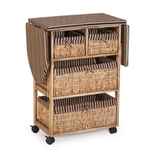 Wholesale wooden folding ironing board cabinet with storage basket