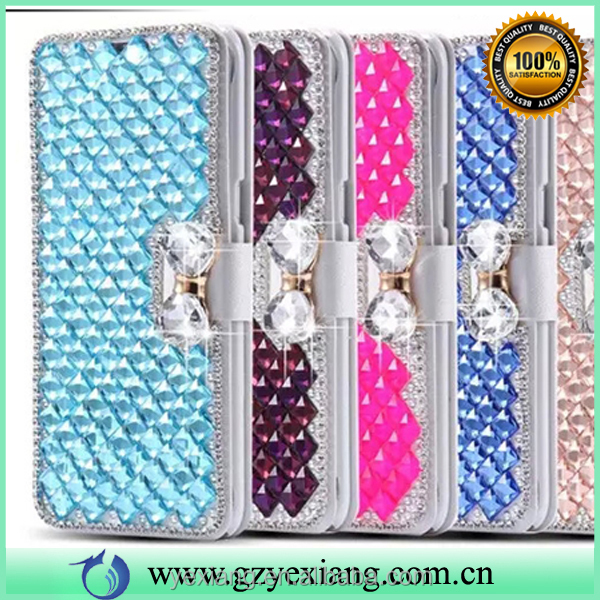 Mobile phone accessories crystal wallet stand cover for Samsung galaxy s7 pu leather flip case with card slot