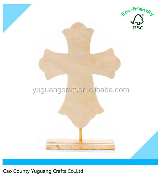 Custom Unfinished Flourish Style Stand Wood Cross