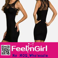 Wholesale Hot Sale Black Lace 2014 New Design Ladies Dress