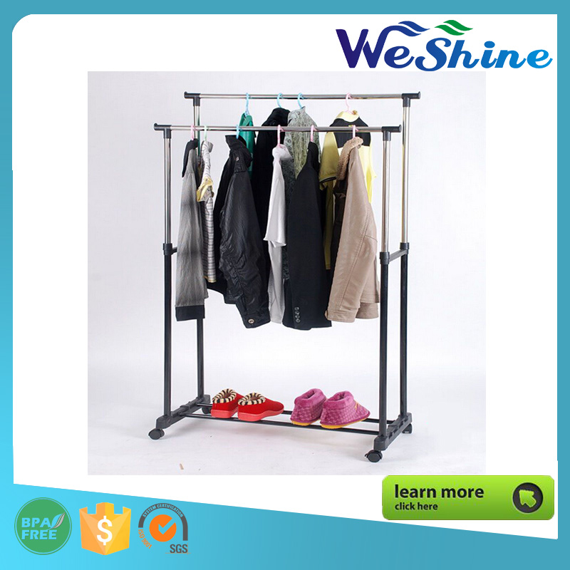 Wholesale Stainless Steel Foldable Clotheshorse Indoor Outdoor Clothes Drying Rack Double rail