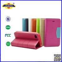 China Manufacturer Colorful Book Style Wallet Leather Stand Phone Case Cover For iPhone 4 4s 5 5s --Laudtec