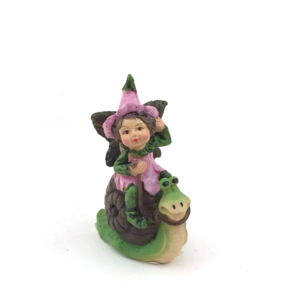 Mini garden resin fairy on snail