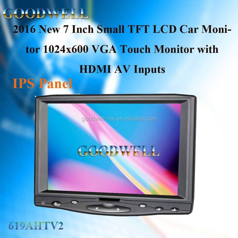 4 Wire Resistive Touch Screen 7 Inch Small TFT LCD Car Monitor with AV/VGA/HDMI Input ,1024 x600 IPS Panel