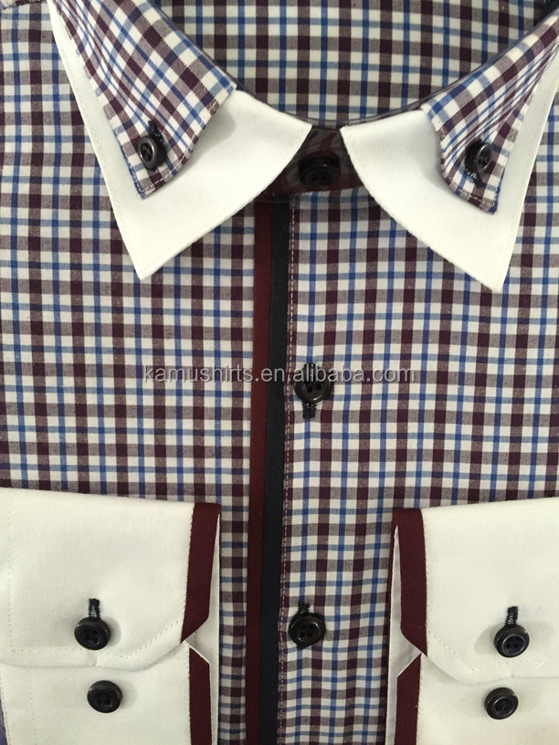 Contrast color collar and cuff dress shirts man checks for Mens dress shirts with contrasting collars and cuffs