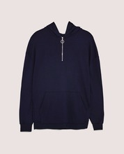 Guangzhou factory OEM service pullover high quality blank long sleeve kangaroo pocket dark blue CVC men custom hoodies