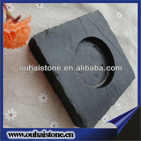 Design by yourself single black slate natural stone candle holder