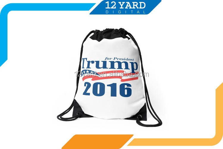 2017 popular Men and women drawstring bag &printed polyester running backpack
