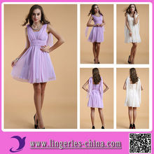 Chiffon Evening Dress With Sleeves Knee Length
