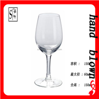 cheap 150ml lead-free crystal little red wine glass/glass goblet with OEM decal logo for promotion HRWG-043