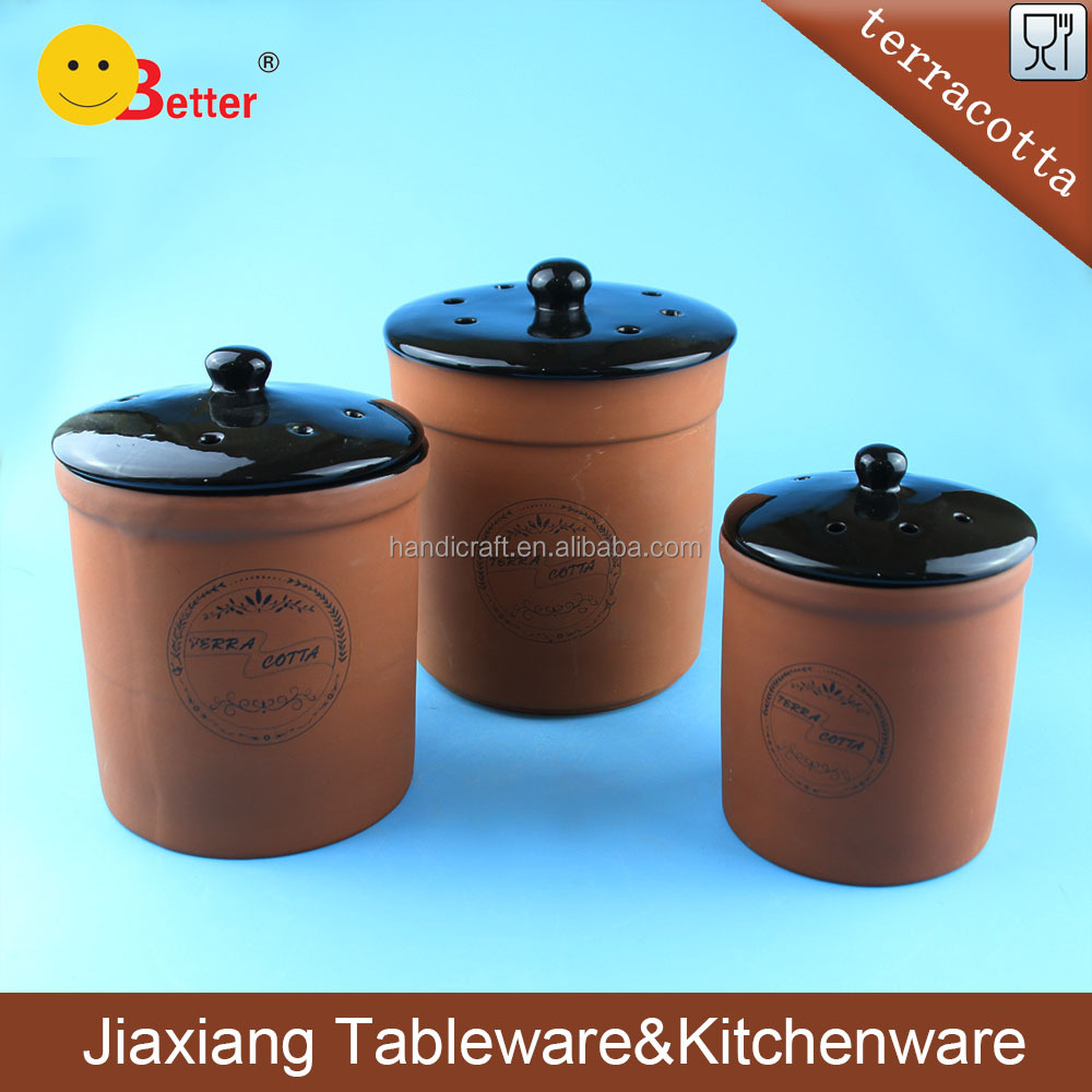 terracotta bread bin biscuit tea coffee sugar canister set