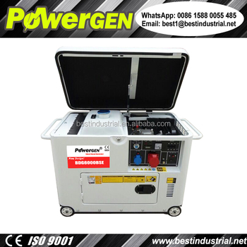 Newly Designed!!! Factory Direct Sale POWERGEN 50Hz/60Hz Silent Type Small Portable Diesel Generator 5000W with Cooling Fan