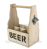 China Manufacturer Custom Creative New Novelty Six Pack Wooden Beer Caddy Carrier with metal opener tote holder for sale
