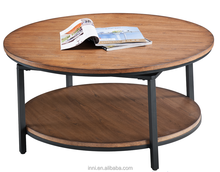 Metal & Wood Coffee Table w/swivel top; Round End Table