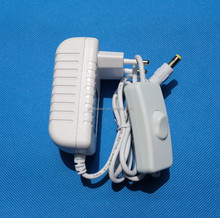 EU plug 12V 1A power adapter white color with on/off switch on the cable