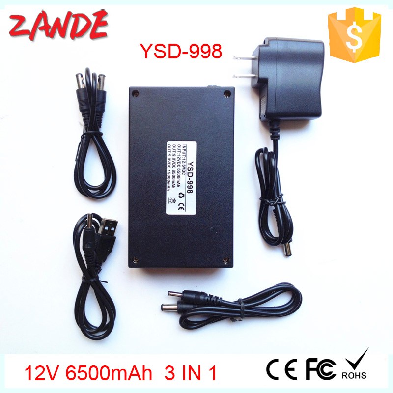 Rechargeable YSD-998 Li-ion Polymer Power Bank,Lithium Batteries Pack 5V 9V 12v 6500mah 3 in 1