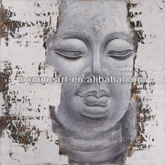 Handpainted indian religious buddha painting on canvas