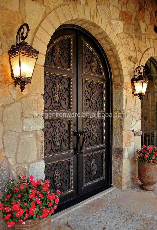 Full Round Top Dark Copper Wrought Iron Double Entry Doors for Villa