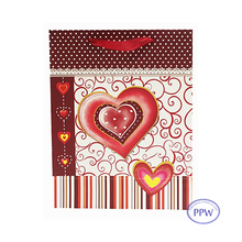 3D Paster Valentine's Day Design Gift Paper Bag for Shopping and Wedding Gifts