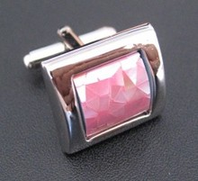 Stainless steel cuff link, with pink eyes stone, shiny finish