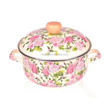 full decals enamel cookware & enamel strait pot with beautiful flower coating