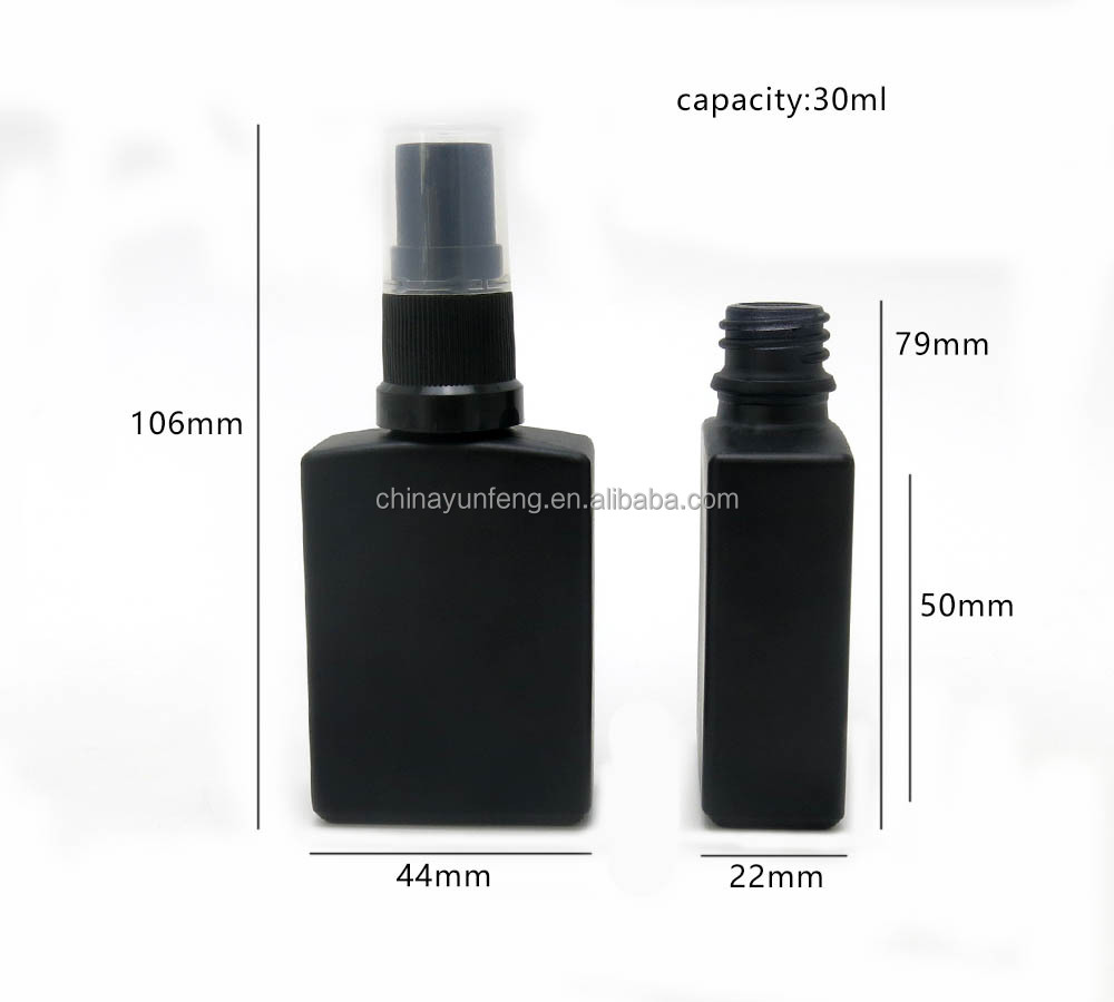30ml black square glass perfume spray bottle for men