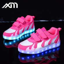 High quality LED light up shoes flame kid shoes battery operated