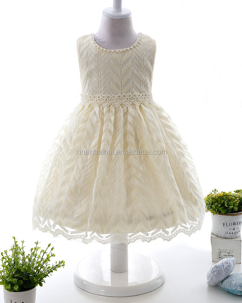 White Flower Girl Dress for wedding lovely kids 2 years old party Embroidery dress baby girl tutu derss with pattern
