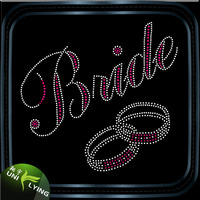 Beatiful Pink Ring Bride Rhinestone Iron On Heat Transfer For Wedding Dress Decoration