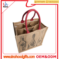 customize wholesale China suppliers personalized jute wine tote bag wine carrier