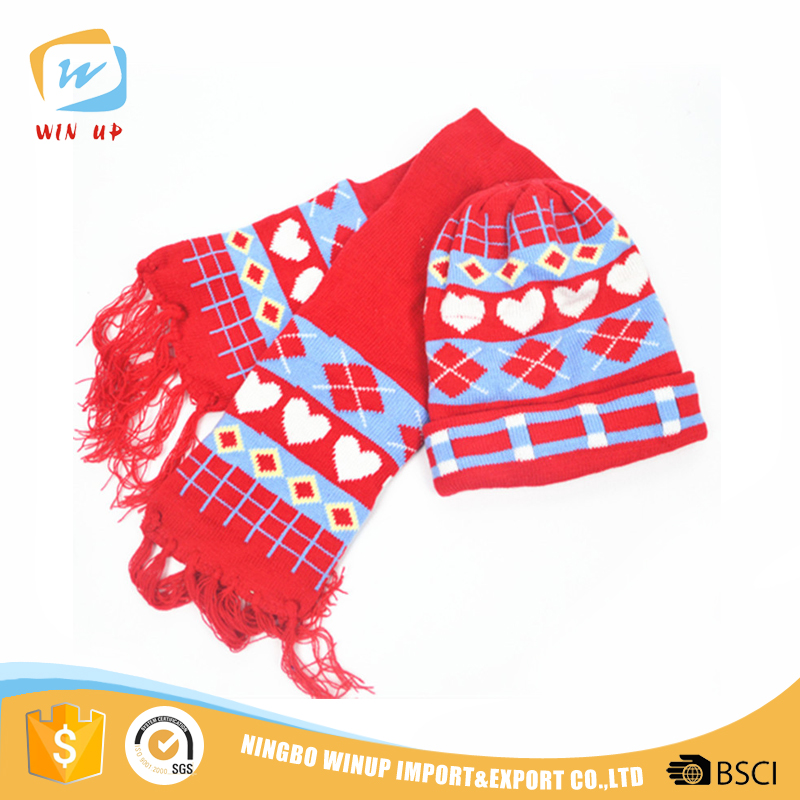 WINUP wholesale fashion cartoon kids winter warm knitted hat scarf set